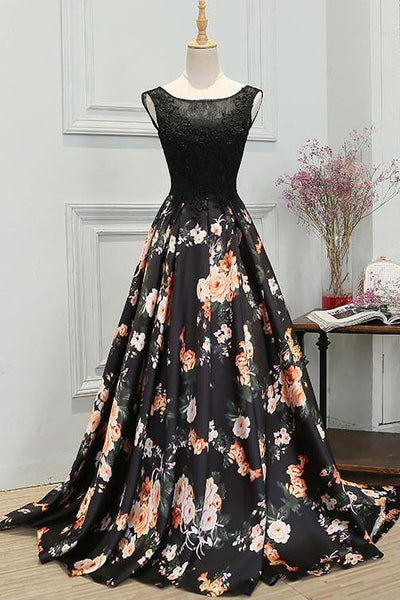 Chic A-Line Scoop Satin Black Lace up Sleeveless Long Flowers Prom Dresses