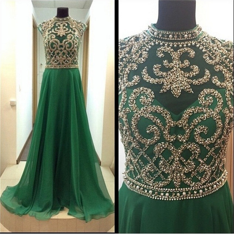 high neck cap sleeves formal beaded top chiffon green long prom dress, PD8857