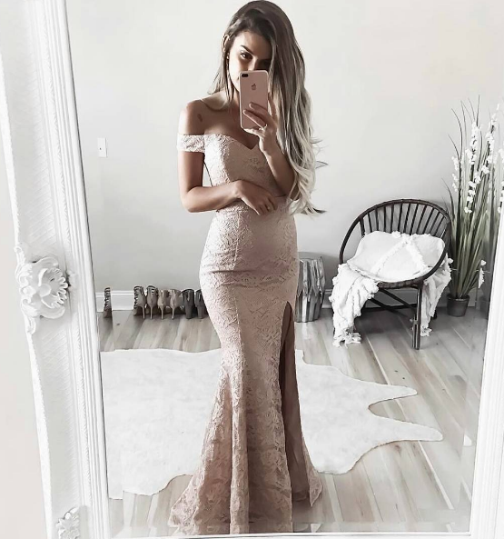 off shoulder long side slit prom dress, lace evening dress, PD4119