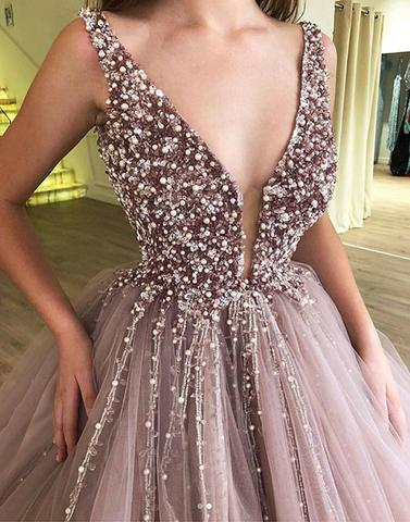 Deep V-Neck Long Prom Dresses Beaded Evening Dresses Tulle Ball Gowns Formal Dresses