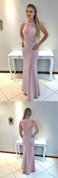 Dusty Pink Beaded Long Prom Dresses Mermaid Evening Dresses Backless Formal Dresses