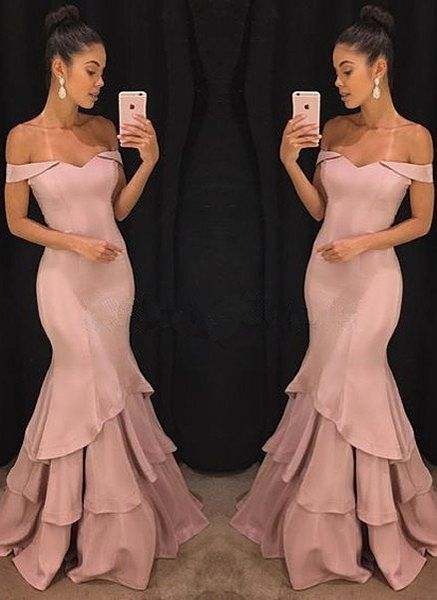 Dusty Pink Long Prom Dresses Mermaid Evening Dresses Off the Shoulder Formal Dresses