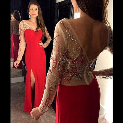 red prom dress, long prom dress, side slit prom dress, formal prom dress, long sleeves evening dress, BD33
