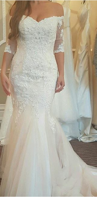 Wedding dress lace wedding dress wedding dress 2017 bsbridal 2017 mid sleeves elegant off shoulder mermaid ivory lace wedding dress wd101 junglespirit Image collections
