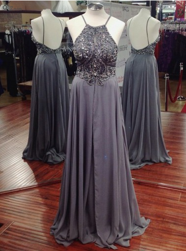 gray prom dress, long prom dress, chiffon prom dress, beaded prom dress, spaghetti evening dress, BD524