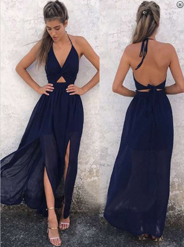 blue two pieces halter prom dress, backless evening dress, PD4120
