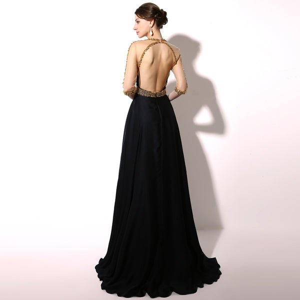 Elegant Beaded Long Prom Dresses Black Backless Evening Dresses Half Sleeve Formal Dresses