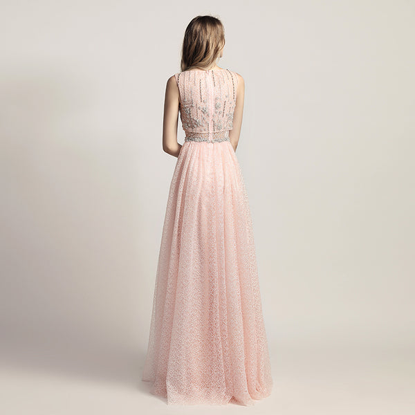 Elegant Beaded Long Prom Dresses Sleeveless Evening Dresses A-Line Formal Dresses