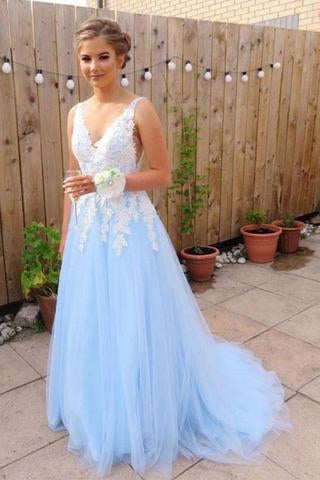Elegant Blue Chiffon A line V Neck V Back Tulle Lace Long Prom Dresses, Evening Dress