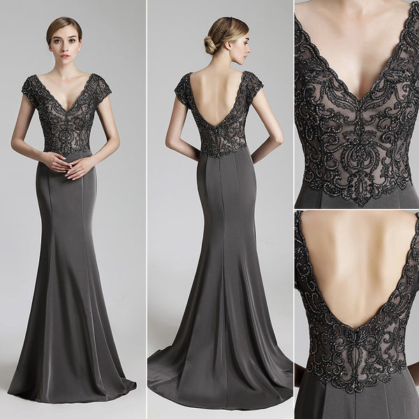 Elegant Deep V-Neck Long Prom Dresses Applique Beaded Evening Dresses V-Back Mermaid Satin Formal Dresses