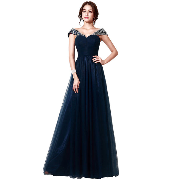 Elegant Off the Shoulder Long Prom Dresses Tulle Evening Dresses A-Line Formal Dresses