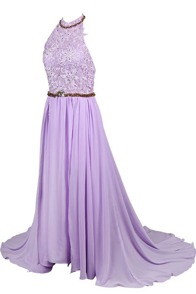 lilac prom dress, long prom dress, halter prom dress, chiffon prom dress, charming evening gown, BD50