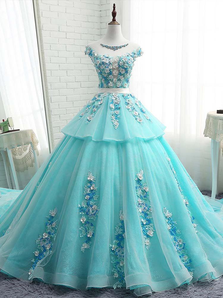 Floral Applique Long Prom Dresses Beaded Evening Dresses Cap Sleeve Ball Gowns Formal Dresses