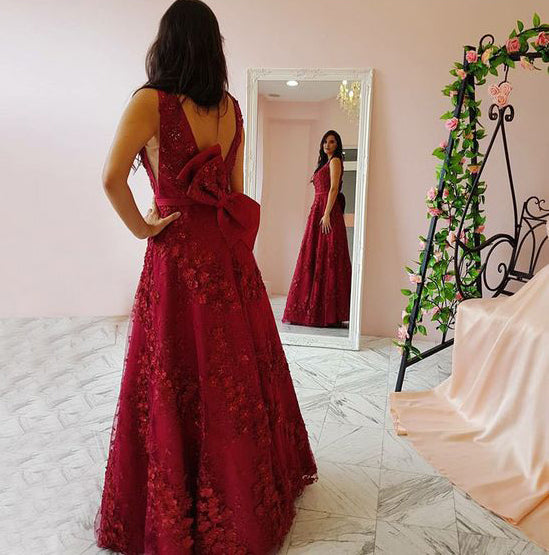 Floral Applique Long Prom Dresses Red V-Neck Evening Dresses A-Line Formal Dresses with Bowknot