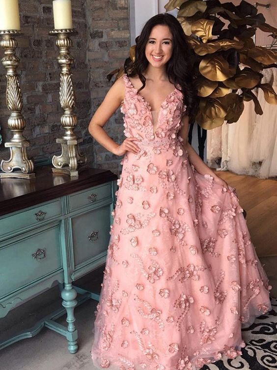 Floral Applique Long Prom Dresses V-Neck Evening Dresses A-Line Formal Dresses