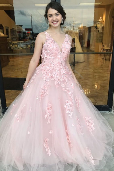 Floral Applique Long Prom Dresses V-Neck Evening Dresses Tulle A-Line Formal Dresses