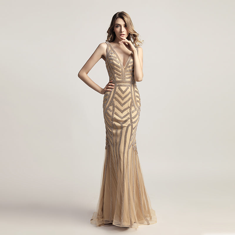 Gold Beaded Long Prom Dresses V-Neck Evening Dresses Mermaid Formal Dresses