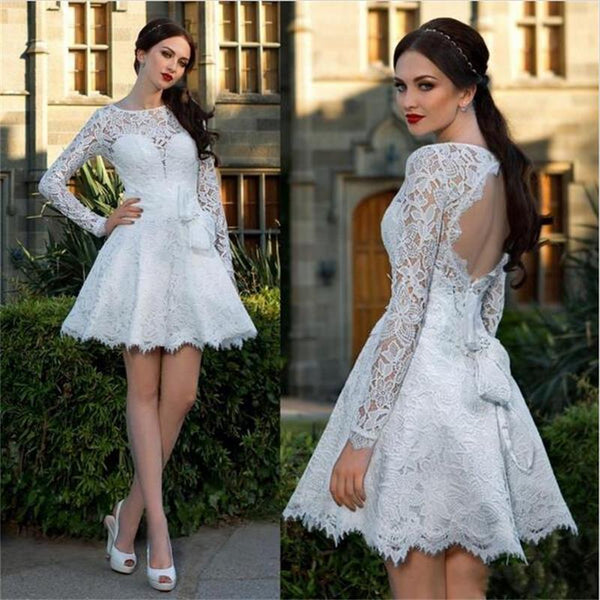 open back long sleeves white lace short A-line homecoming dress, HD449