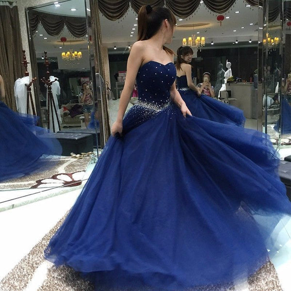 royal blue prom dress, long prom Dress, sweetheart evening dress, A-line prom dress, tulle evening dress, BD350