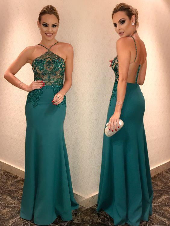 Halter Beaded Evening Dress,Fashion Prom Dress,Sexy Mermaid Prom Dresses