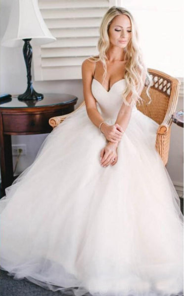 sweetheart simple elegant tulle long wedding dress, WD280