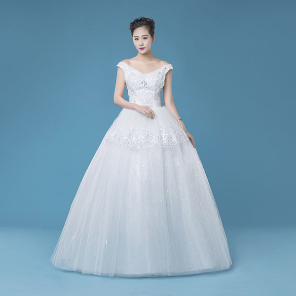 A-line long tulle cheap new arrive wedding dress, WD66