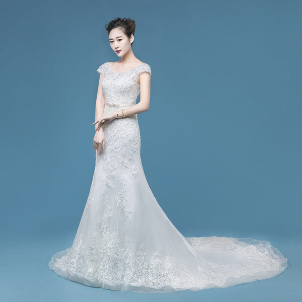 long cap sleeves cheap new arrive wedding dress, WD65