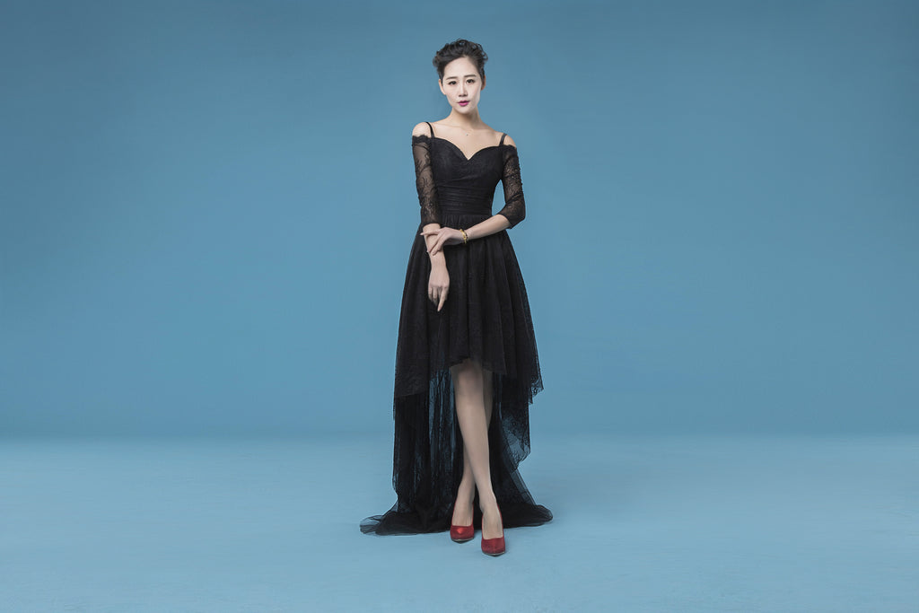 black hi-lo off shoulder prom dress, charming party dress, PD864