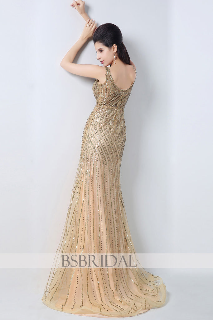 v-neck formal gold full beaded sparkle long prom dress – BSBRIDAL