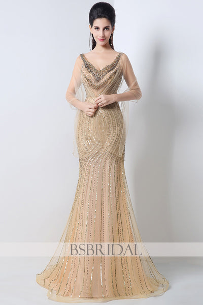 v-neck formal gold full beaded sparkle long prom dress, JS003