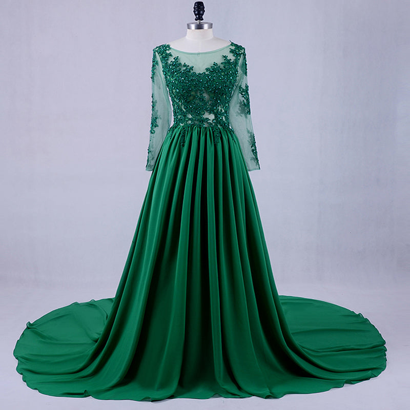 A-line modest round neck long sleeves green chiffon long prom dress, PD8863