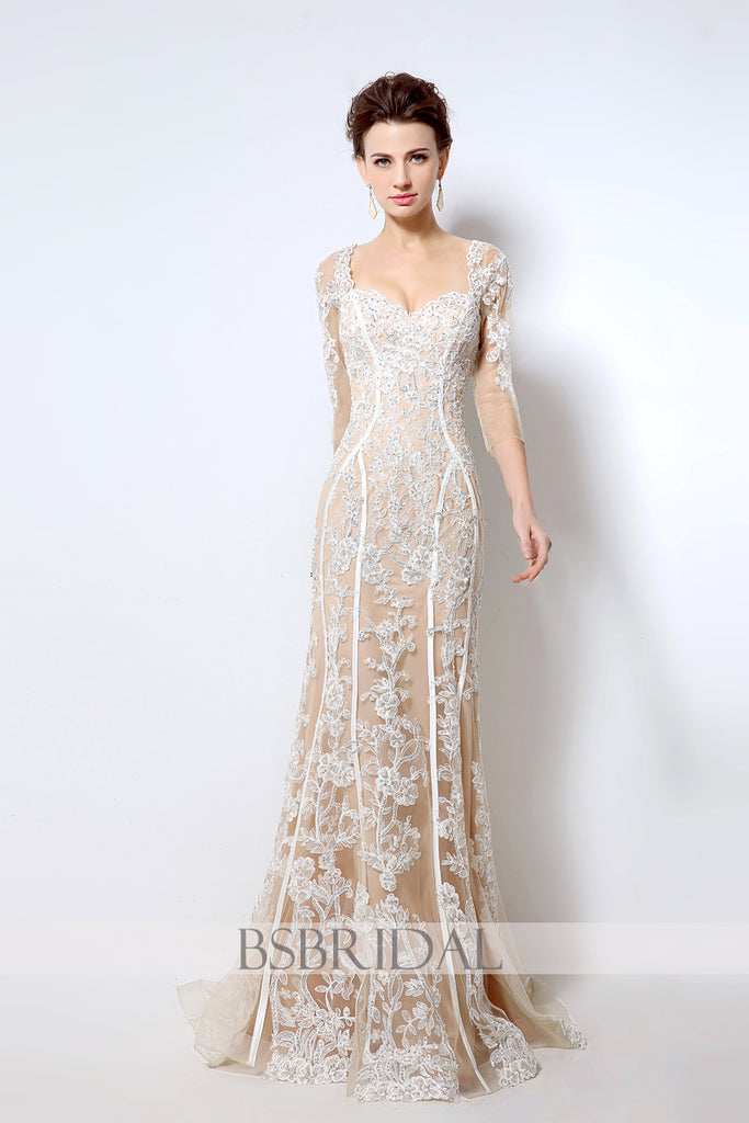 modest elegant mermaid long sleeves lace long prom dress, LX013