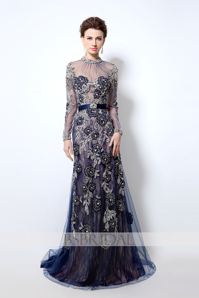 modest elegant navy long sleeves lace long prom dress, LX014