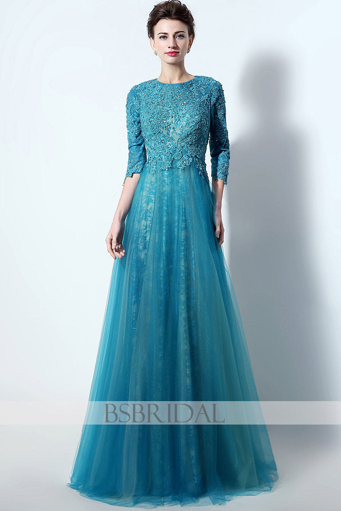 Turquoise Lace Long Prom Dresses