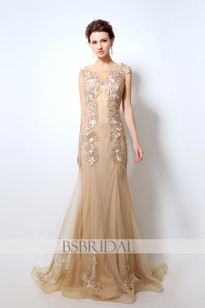 2018 modest formal gold long prom dress, LX036