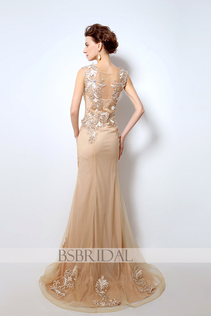 2018 modest formal gold long prom dress – BSBRIDAL