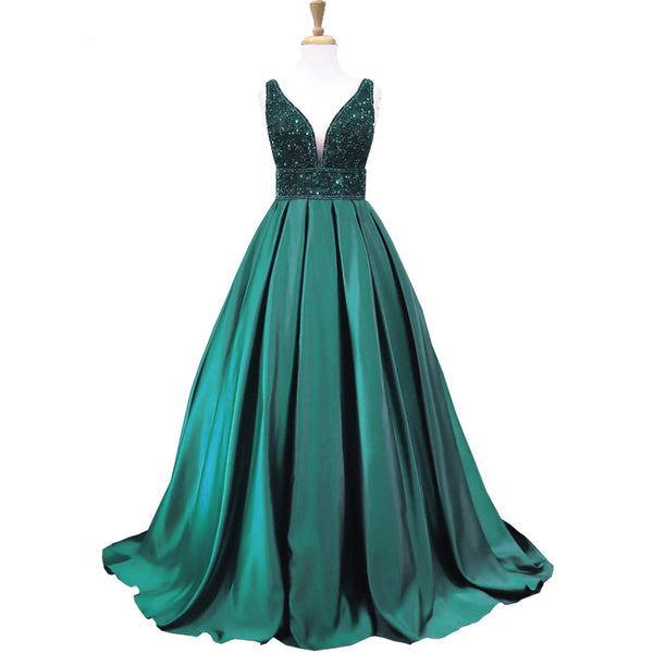 v-neck A-line emerald green beaded long formal prom dress, PD8865