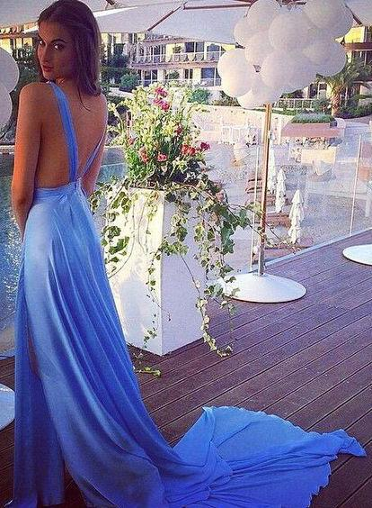Long Prom Dresses,blue Prom Dress,chiffon Prom dress,sexy backless prom Dress,2019 prom Dress