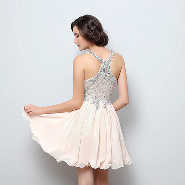 Luxurious Beaded Homecoming Dresses V-Neck Short Homecoming Dresses Chiffon Short Prom Dresses