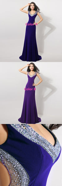 Luxurious Beaded Long Prom Dresses V-Neck Mermaid Evening Dresses Backless Formal Dresses