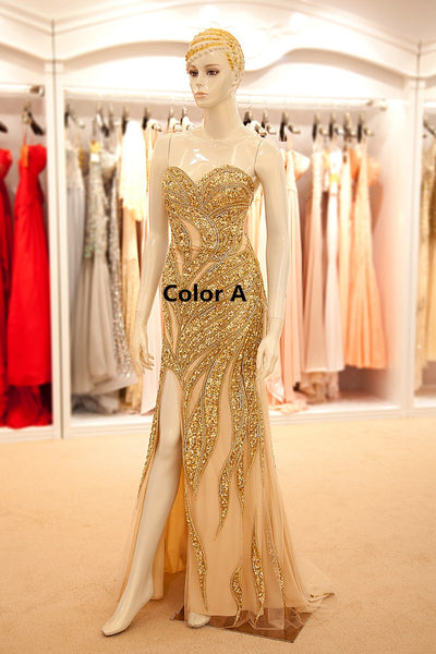 Luxurious Beaded Long prom Dresses Sweetheart Strapless Evening Dresses Backless Mermaid Formal Dresses