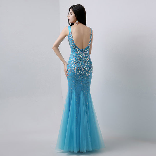 Luxurious Beaded Long prom Dresses V-Neck Evening Dresses Mermaid Backless Formal Dresses