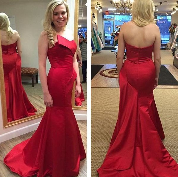 red mermaid satin strapless formal long cheap prom dress, PD9664