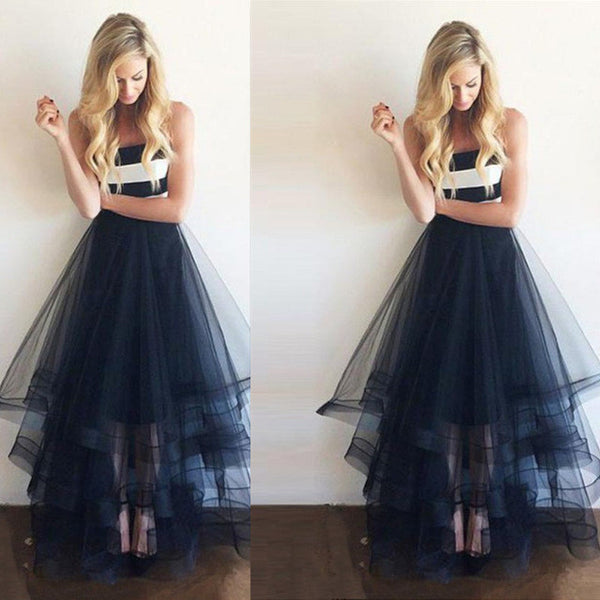 tulle prom dress, long prom dress, A-line prom dress, strapless prom dress, 2017 evening gown, BD12