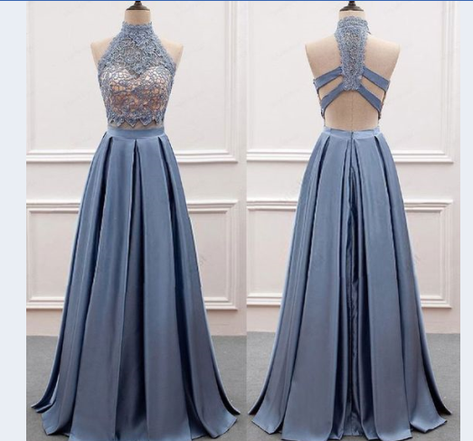 cheap two pieces high neck lace top long prom dress, BD753
