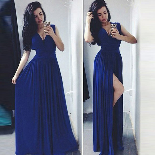 v-neck royal blue chiffon side slit long prom dress, PD5454