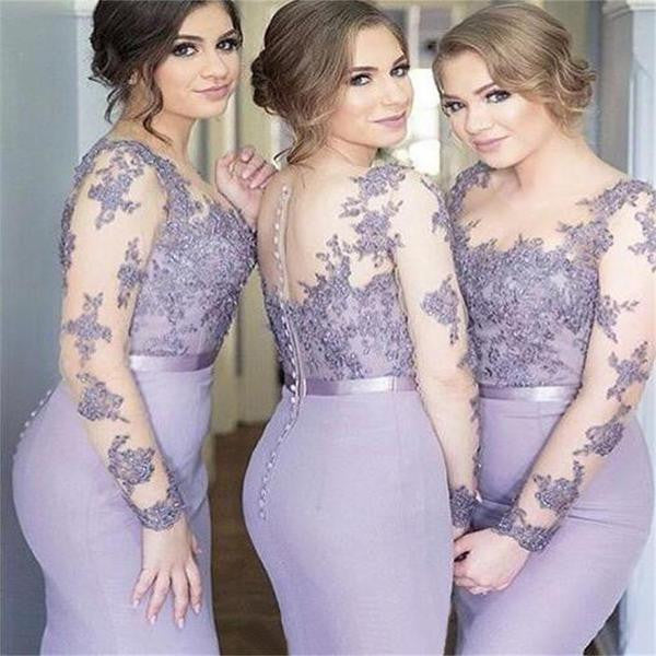 2017 Long Sleeves Mermaid Scoop Lilac Custom Bridesmaid Dresses , Wedding Party Dresses,PD2001