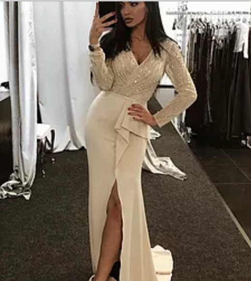 formal long sleeves v-neck side slit long prom dress, PD5586