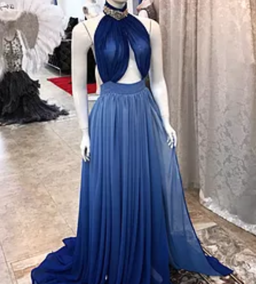 formal blue chiffon high neck backless long prom dress, PD5588