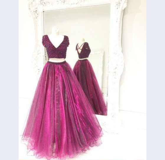 short sleeves v-neck two pieces purple long prom dress, PD557